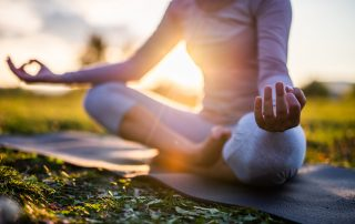 yoga outdoor at sunset.