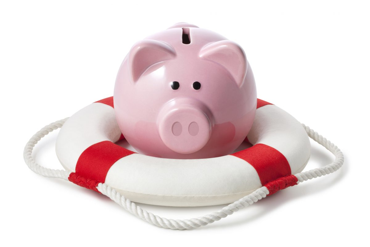 Piggy bank with lifebouy