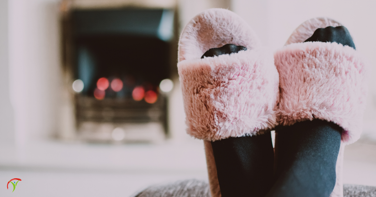 slippers on by the fire
