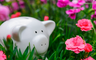 piggy bank in flowers